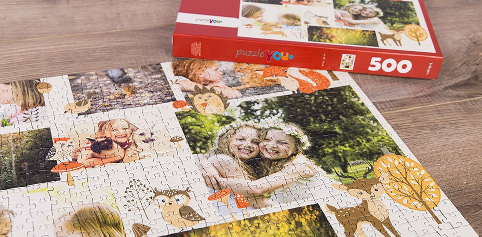 Photo Puzzle with Illustration collage